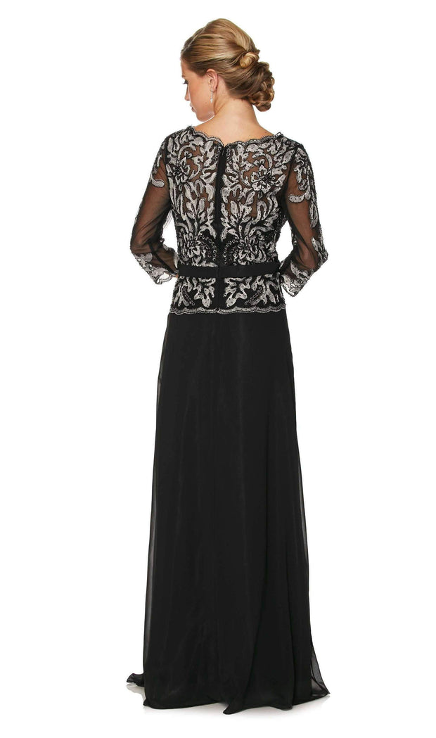 Long Lace Applique Chiffon Dress with 3/4 Sleeves by Juliet 634-Long Formal Dresses-ABC Fashion