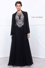 Long Lace Applique Dress with Jacket by Nox Anabel 5148-Long Formal Dresses-ABC Fashion