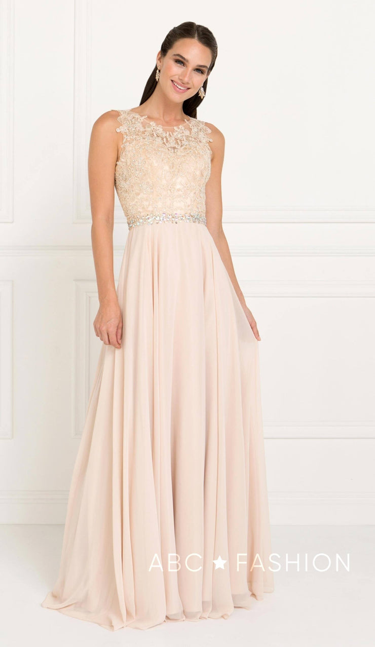 Long Lace Appliqued Chiffon Dress by Elizabeth K GL2417-Long Formal Dresses-ABC Fashion
