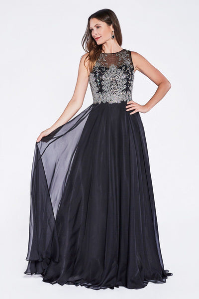 Long Lace Appliqued Dress with Sheer Bodice by Cinderella Divine 56-Long Formal Dresses-ABC Fashion