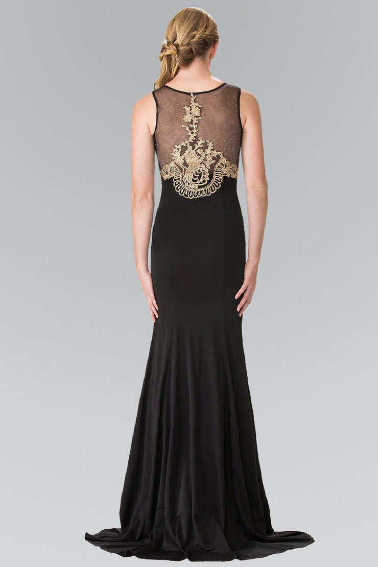 Long Lace Appliqued Dress with Sheer Bodice by Elizabeth K GL2230-Long Formal Dresses-ABC Fashion