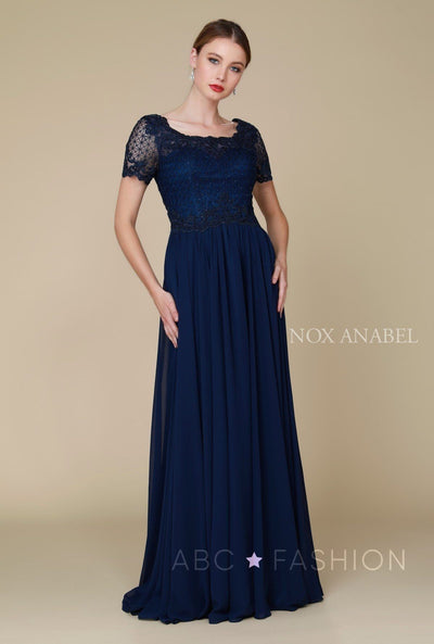 Long Lace Appliqued Dress with Short Sleeves by Nox Anabel Y514-Long Formal Dresses-ABC Fashion