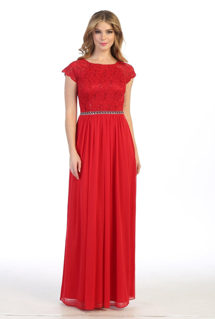 Long Lace Bodice A-line Dress with Short Sleeves by Celavie 6394L