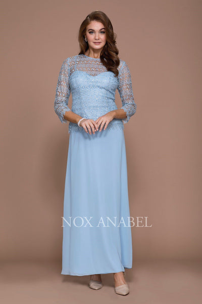 Long Lace Bodice Dress with 3/4 Sleeves by Nox Anabel 5083-Long Formal Dresses-ABC Fashion