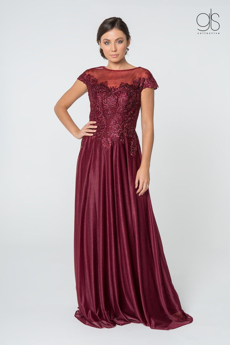 Long Lace Bodice Dress with Cap Sleeves by Elizabeth K GL2828-Long Formal Dresses-ABC Fashion