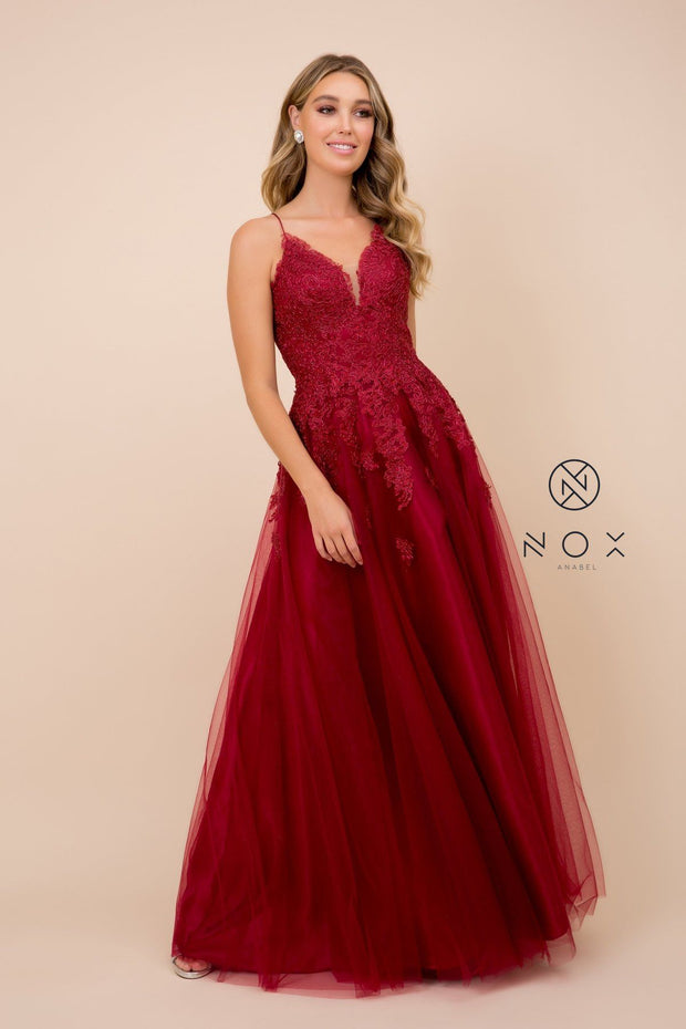Long Lace Bodice Dress with Corset Back by Nox Anabel R351