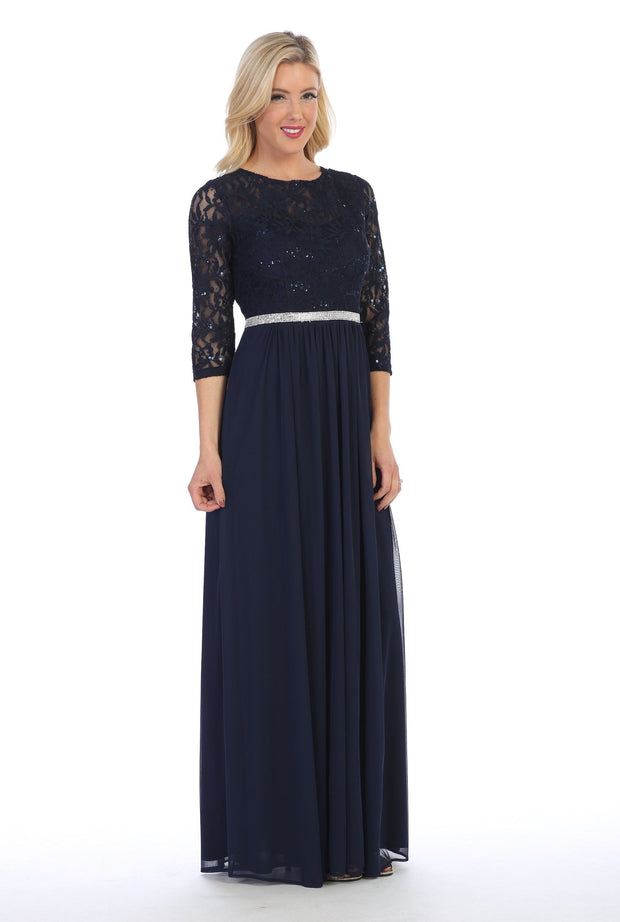 Long Lace Bodice Dress with Long Sleeves by Celavie 6305L-Long Formal Dresses-ABC Fashion