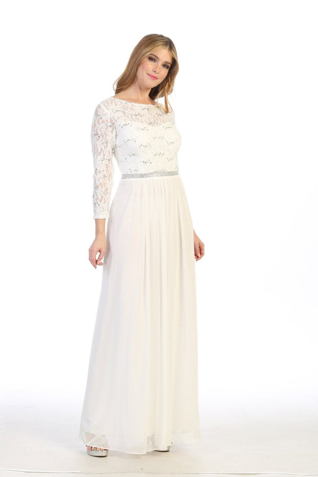 Long Lace Bodice Dress with Long Sleeves by Celavie 6305L