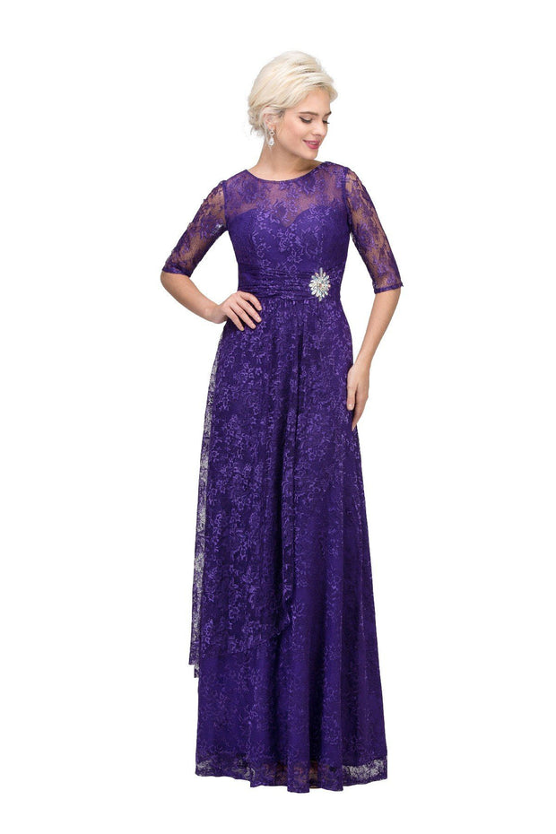 Long Lace Bodice Dress with Long Sleeves by Star Box 6337-Long Formal Dresses-ABC Fashion