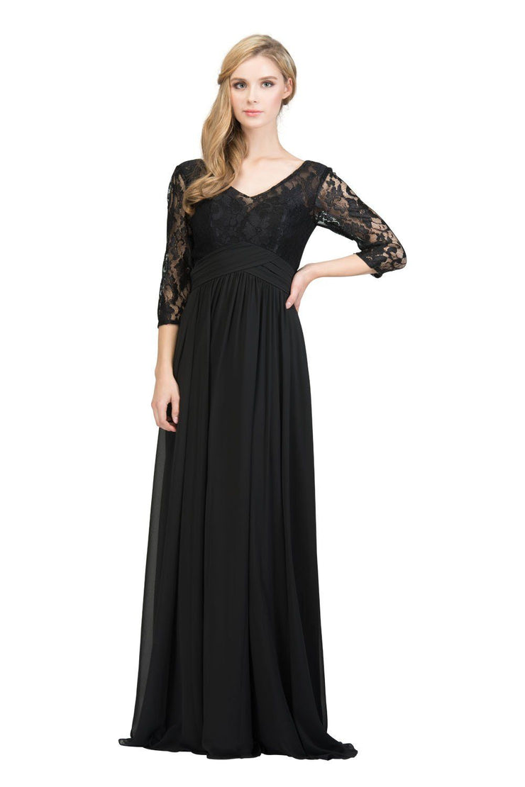 Long Lace Bodice Dress with Mid Sleeves by Star Box 6159-Long Formal Dresses-ABC Fashion