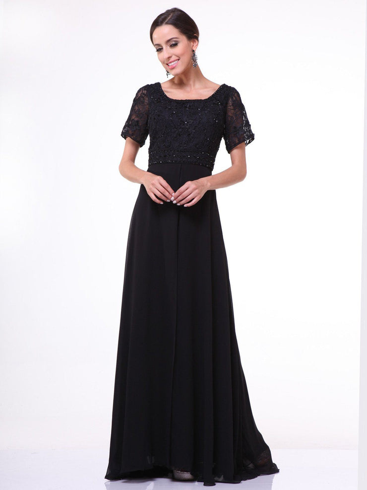 Long Lace Bodice Dress with Short Sleeves by Cinderella Divine 1940-Long Formal Dresses-ABC Fashion