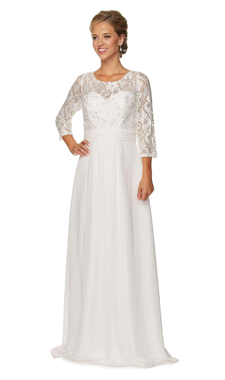Long Lace Bodice Formal Dress with Sheer Sleeves by Juliet 633-Long Formal Dresses-ABC Fashion