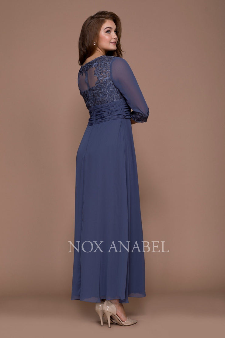Long Lace Bodice Illusion Dress with 3/4 Sleeves by Nox Anabel 5101-Long Formal Dresses-ABC Fashion
