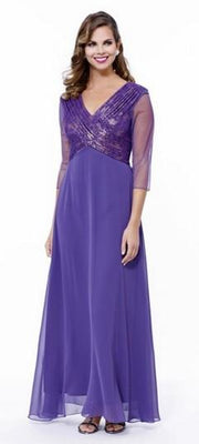 Long Lace Embroidered Dress with Sheer Sleeves by Nox Anabel 5126-Long Formal Dresses-ABC Fashion