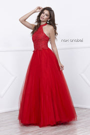 Long Lace Embroidered Halter Dress by Nox Anabel 8181-Long Formal Dresses-ABC Fashion