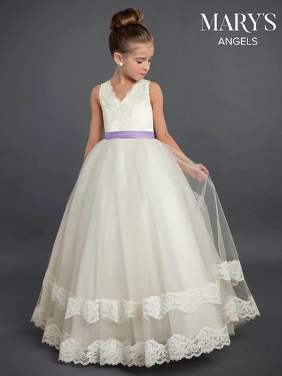 Long Lace Flower Girl Dress with Sash by Mary's Bridal MB9019-Girls Formal Dresses-ABC Fashion