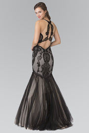 Long Lace Halter Mermaid Dress by Elizabeth K GL2219-Long Formal Dresses-ABC Fashion