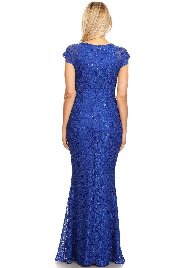 Long Lace Mermaid Dress with Cap Sleeves by Celavie 6372-Long Formal Dresses-ABC Fashion