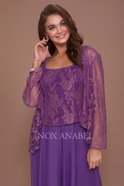 Long Lace Top Dress With Sheer Jacket By Nox Anabel 5076