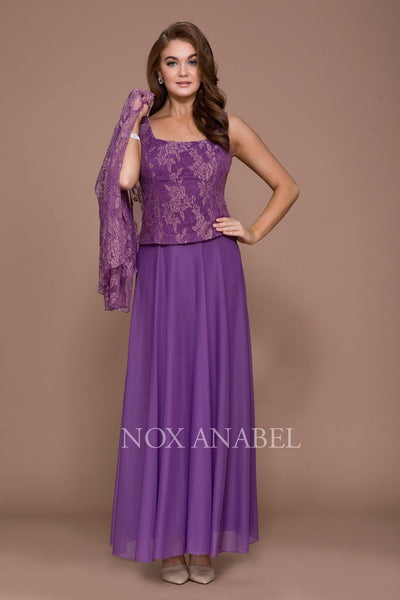 Long Lace Top Dress with Sheer Jacket by Nox Anabel 5076-Long Formal Dresses-ABC Fashion