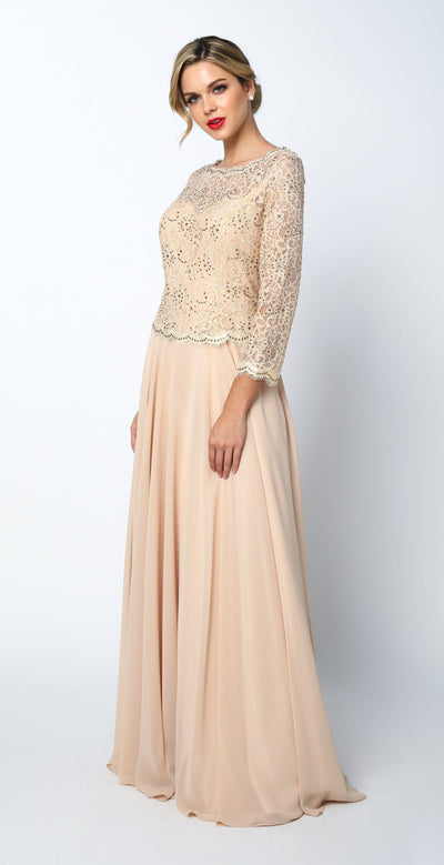 Long Lace Top Peplum Dress with Sheer Sleeves by Juliet 630-Long Formal Dresses-ABC Fashion