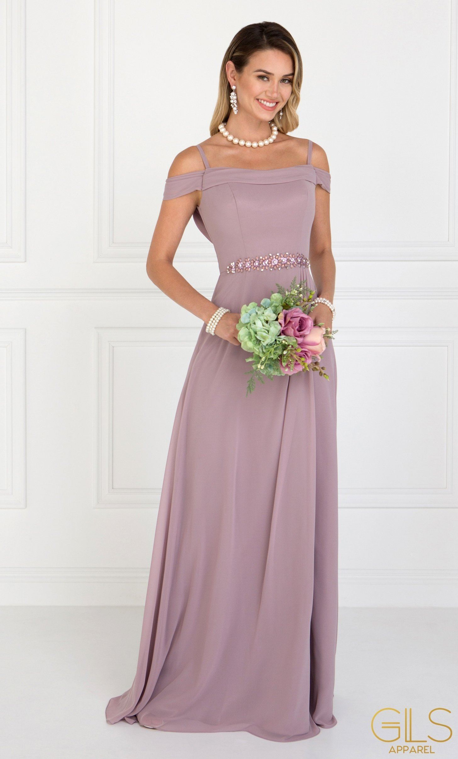 Long Mauve Cold Shoulder Dress with Cowl Back by Elizabeth K-Long Formal Dresses-ABC Fashion