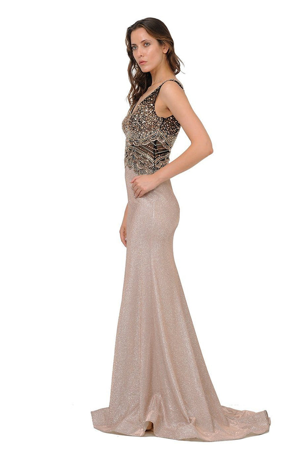 Long Mauve Giltter Dress with Beaded V-Neck Bodice by Poly USA 8400-Long Formal Dresses-ABC Fashion