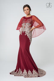 Long Mermaid Cape Dress with Embroidery by Elizabeth K GL1595-Long Formal Dresses-ABC Fashion