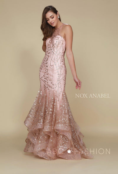 Long Mermaid Dress with Glitter and Rhinestones by Nox Anabel T153-Long Formal Dresses-ABC Fashion