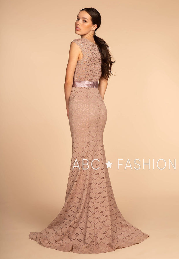 Long Mermaid Lace Dress with Jeweled Bodice by Elizabeth K GL2613-Long Formal Dresses-ABC Fashion