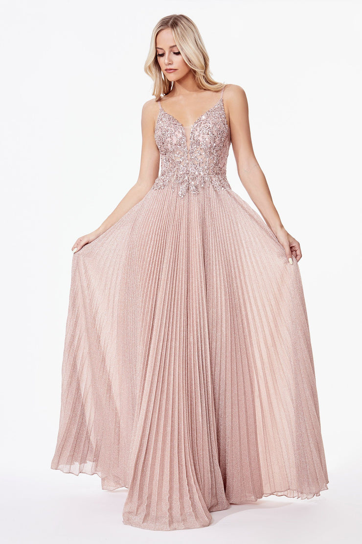 Long Metallic Dress with Beaded Bodice by Cinderella Divine CD0163
