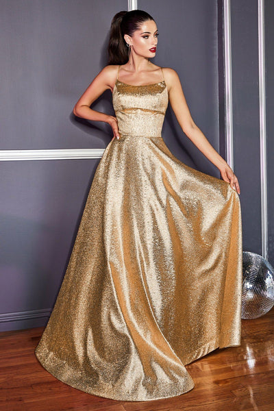 Long Metallic Dress with Corset Back by Cinderella Divine CD203