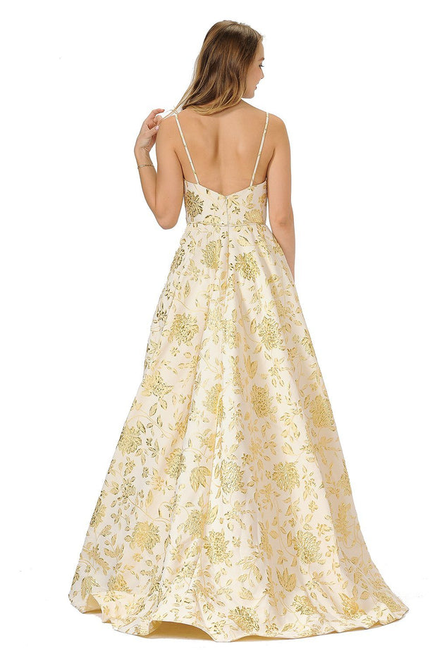 Long Metallic Floral Print Dress with Open Back by Poly USA 8480-Long Formal Dresses-ABC Fashion