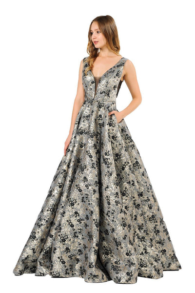 Long Metallic Floral Print Dress with Pockets by Poly USA 8474-Long Formal Dresses-ABC Fashion