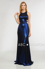 Long Metallic Foil Dress with Side Cutouts by Poly USA 8270-Long Formal Dresses-ABC Fashion