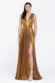 Long Metallic Foil V-Neck Dress by Cinderella Divine CJ529-Long Formal Dresses-ABC Fashion