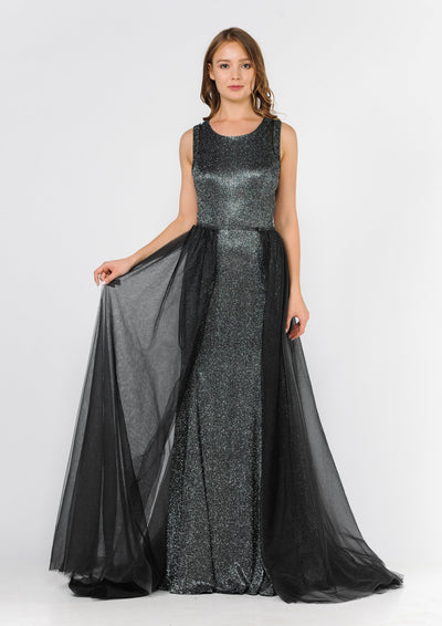 Long Metallic Glitter Dress with Open Back Cut Outs by Poly USA 8342-Long Formal Dresses-ABC Fashion