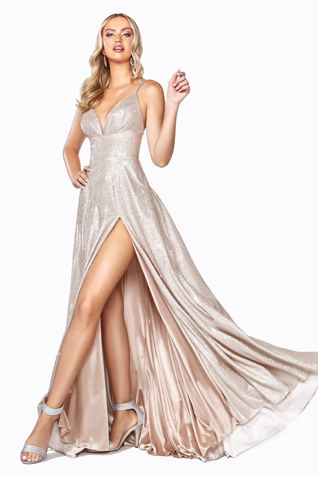 Long Metallic Glitter Dress with Slit by Cinderella Divine CD906