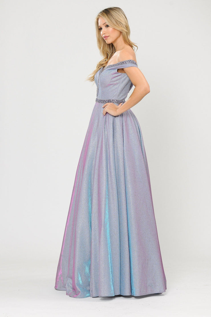 Long Metallic Glitter Off Shoulder Dress by Poly USA 8664