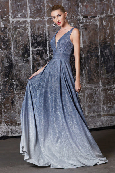Long Metallic Glitter Ombre Dress by Cinderella Divine 9174