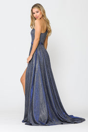 Long Metallic Glitter One Shoulder Dress by Poly USA 8430