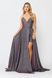 Long Metallic Glitter V-Neck Dress with Slit by Poly USA 8692