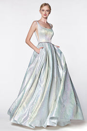 Long Metallic Holographic A-line Dress by Cinderella Divine KC880-Long Formal Dresses-ABC Fashion