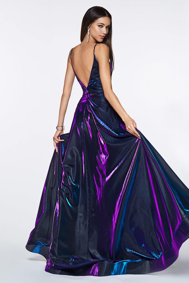 Long Metallic Iridescent A-line Dress by Cinderella Divine CJ506-Long Formal Dresses-ABC Fashion