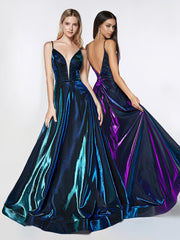 Long Metallic Iridescent A-line Dress by Cinderella Divine CJ506