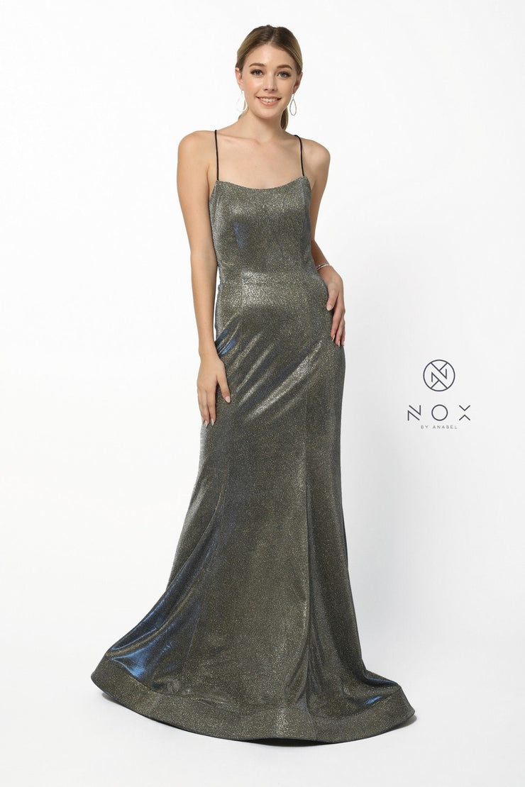 Long Metallic Mermaid Dress with Corset Back by Nox Anabel R273-Long Formal Dresses-ABC Fashion