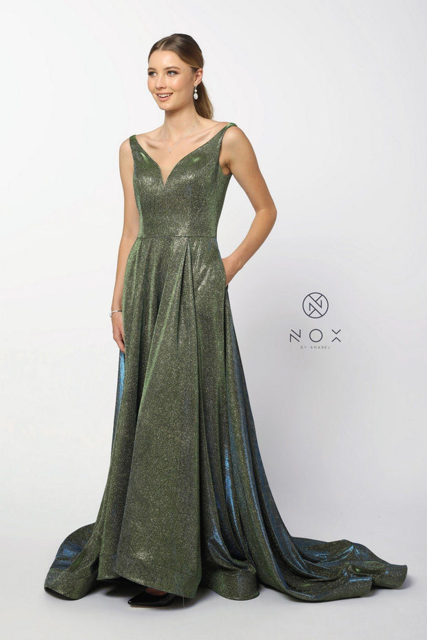 Long Metallic Satin V-Neck Ballgown-Style Dress by Nox Anabel R274-Long Formal Dresses-ABC Fashion