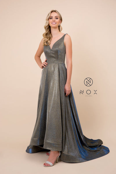 Long Metallic Satin V-Neck Ballgown-Style Dress by Nox Anabel R274