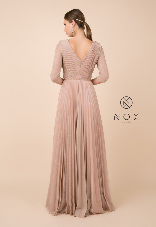 Long Metallic V-Neck Dress with Mid Sleeves by Nox Anabel M530-Long Formal Dresses-ABC Fashion