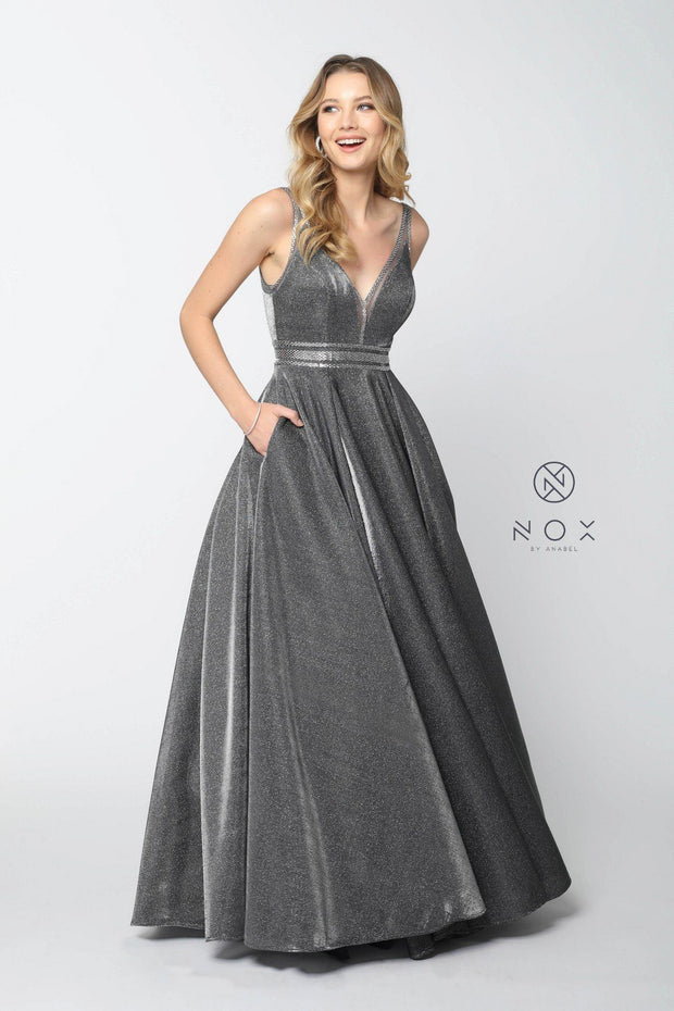 Long Metallic V-Neck Dress with Open V-Back by Nox Anabel S264-Long Formal Dresses-ABC Fashion